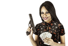 Sexy african american with gun and cash Royalty Free Stock Photos