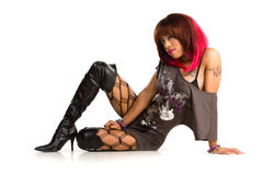 Sexy african american rocker girl Royalty Free Stock Image