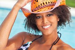 Free Sexy African American Woman Girl Wearing Cowboy Hat By Swimming Pool Stock Photo - 177636840
