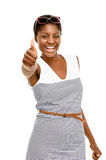 Sexy African American woman holding thumbs up white background Stock Photos