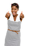 Sexy African American woman holding thumbs up white background. Sexy African American woman holding thumbs up smiling Royalty Free Stock Images