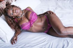 Sexy African American woman in lingerie Royalty Free Stock Image
