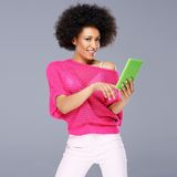 Sexy African American woman with a tablet Stock Photo