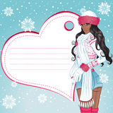 Sexy african winter girl greeting card Royalty Free Stock Photo