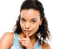 Sexy african woman finger on lips Royalty Free Stock Photos