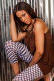 Sexy Afrikaanse Amerikaanse mannequin Royalty-vrije Stock Afbeeldingen