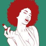 Sexy afrikanisches Frauenporträt, das ihr Make-up tut Pop-Arten-Mädchenporträt Stockbild