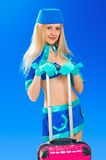 air stewardess. Hostess with her bag Royalty Free Stock Images