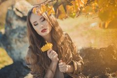 Amazing lady girl nifty stylish dressed in autumn jacket with blond hairs and pout red lips with make up face posing sit for. Camera in central park spring royalty free stock image