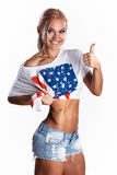 Sexy american sports blonde smiling Stock Photo