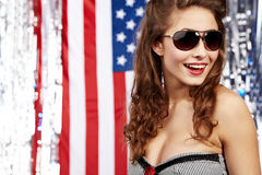 Sexy american woman. Patriot concept Royalty Free Stock Image