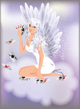 Sexy angel girl and poker cards Stock Photos