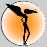 Sexy Angel Sideview Silhouette. Silhouette of a slim angel posing sideview Stock Images