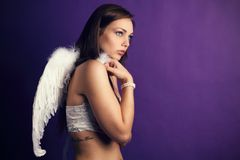 Sexy angel in the studio Royalty Free Stock Image