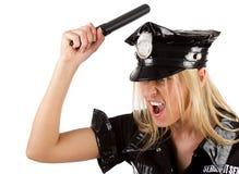Sexy angry policewoman Stock Photos