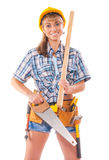 Sexy Arbeitnehmerin mit den Tischlerwerkzeugen lokalisiert auf weißem backgr Stockfoto