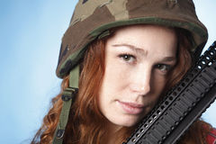 Sexy army woman Stock Images