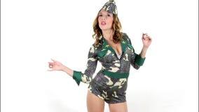 Sexy army woman Stock Photo