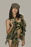 Sexy army woman Stock Image