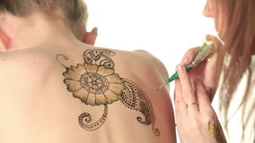 Sexy art of drawing on body. Mehndi stock footage