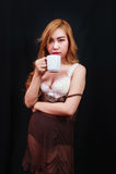 Sexy asia lady drinking coffee Stock Photos