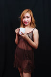 Sexy asia lady drinking coffee Royalty Free Stock Image