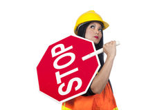 Sexy Asian construction worker Royalty Free Stock Image