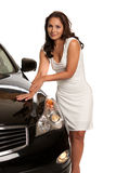 Sexy Asian Female Standing by the Car Royalty Free Stock Photos