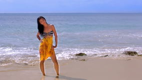 Sexy Asian Girl at Exotic Beach Enjoys with Sun Sea Royalty Free Stock Images