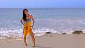 Sexy Asian Girl at Exotic Beach Enjoys with Sun Sea stock video