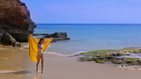 Sexy Asian Girl at Exotic Beach Enjoys with Sun Sea stock footage