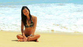 Sexy Asian Girl at Exotic Beach Enjoys with Sun Sea stock video footage