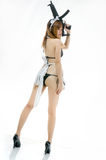 Sexy asian girl model cosplay bikini maid with gun japanese styl Royalty Free Stock Photos