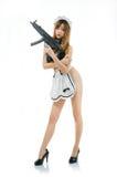Sexy asian girl model cosplay bikini maid with gun japanese styl Stock Photography
