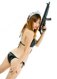 Sexy asian girl model cosplay bikini maid with gun japanese styl Royalty Free Stock Images