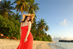 Sexy asian model on tropical beach Royalty Free Stock Photo