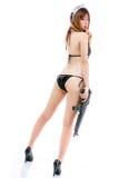Sexy asian woman girl bikini maid with gun japanese styl Royalty Free Stock Images
