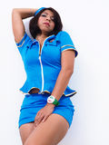 Sexy Asian woman wears flight attendant uniform Royalty Free Stock Photo