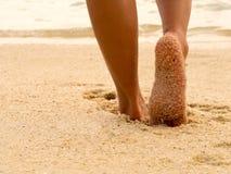 Free Sexy Asian Women Legs Foot Step On Tropical Sand Beach. Walking Female Feet Sand Beach Leaving Footprints Royalty Free Stock Photography - 168360667