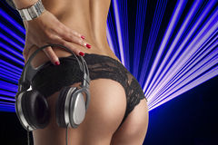Sexy ass with dj headphones Royalty Free Stock Image
