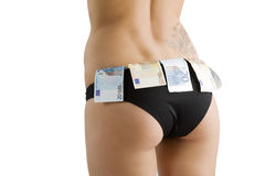 Sexy ass and money Royalty Free Stock Images
