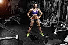 Sexy athlete woman posing with a dumbbell in the gym Royalty Free Stock Image