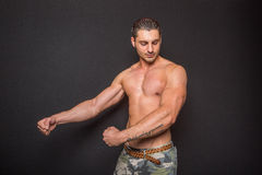Muscular athletic man without shirt Stock Photography