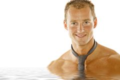 Sexy athletic man in spa Royalty Free Stock Photos
