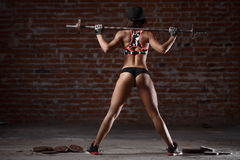 Sexy athletic woman. Beautiful sporty sexy woman doing squat workout in gym Royalty Free Stock Photography