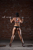 Sexy athletic woman. Beautiful sporty sexy woman doing squat workout in gym Stock Image