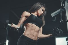 Sexy athletic young girl training arms in gym. Beautiful sexy athletic young caucasian girl working out training arms in the gym gaining weight pumping up Stock Photos