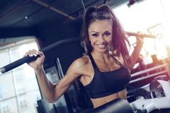 Sexy athletic young girl training back in gym Stock Image