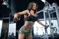 Sexy athletic young girl working out in gym Royalty Free Stock Photography
