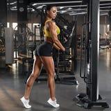 Sexy atletische meisjestraining in gymnastiek Geschiktheidsvrouw die oefening voor triceps doen r stock afbeeldingen